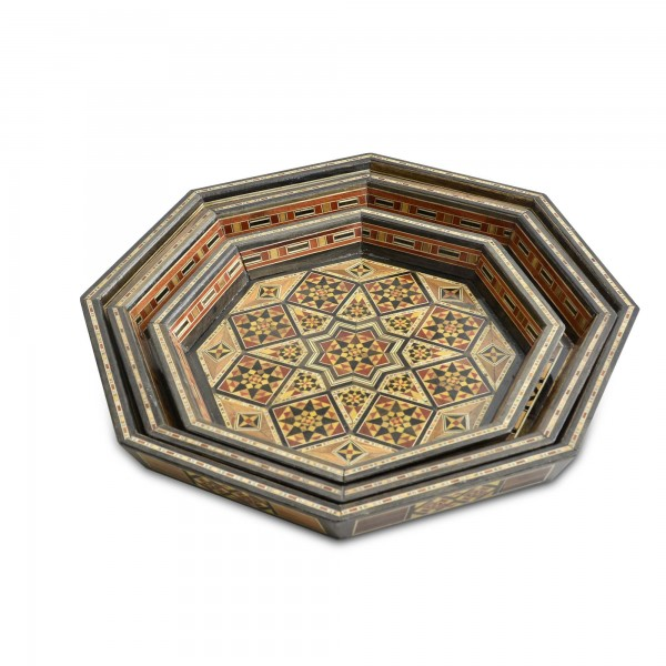 Wooden damascene trays 3 pieces