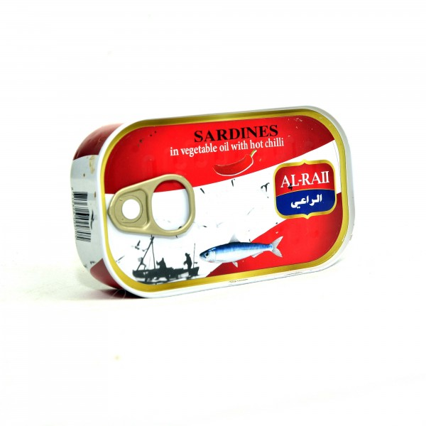 Al Raii sardines in vegetable oil with hot chili 125g
