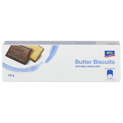 aro butter biscuits with milk chocolate 125 g package