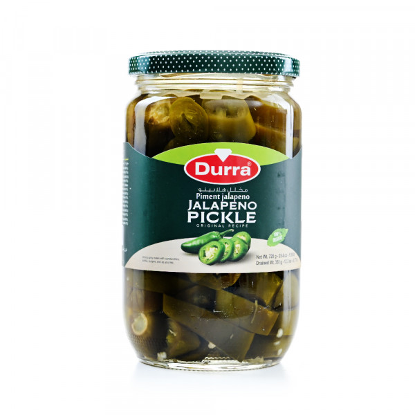 durra pickled jalapeno in a glass 720ml